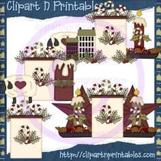 Prim Christmas- #Clipart #ResellableClipart #Christmas #Prim #Candles #Stars #Sheep #Holly