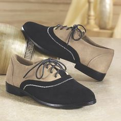 Rhinestone-Trim Oxford by Midnight Velvet from Monroe and Main.  A totally sassy take on saddle oxfords, this faux suede shoe has a row of rhinestones where black meets tan.