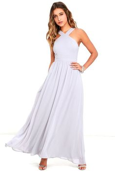 More romantic than a candlelit dinner or a trip to the Eiffel Tower, the Air of Romance Grey Maxi Dress will have you feeling the love! Lightweight Georgette falls from a modified halter neckline, into a seamed bodice supported by semi-sheer shoulder straps. A sweeping skirt cascades from a banded waist completing this elegant maxi dress. Hidden zipper with clasp.