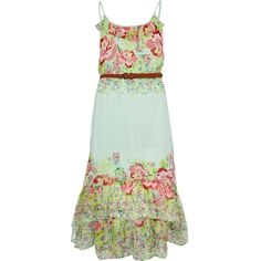 River Island Light Green Floral Print Dip Hem Maxi Dress ($56) ❤ liked on Polyvore