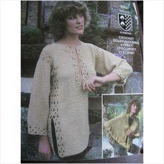 "Twilleys crochet pattern 6253 ladies tunic & shawl Bust 32"" - 38"""