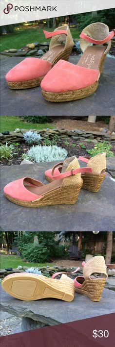 Espadrilles Beautiful coral leather with woven heel. The leather is very soft. Great wedge for a more dressy look! Never been worn. Gaimo Shoes Espadrilles