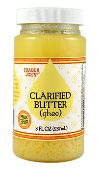 "Clarified Butter, also known as ""ghee"", clarified butter is made by slowly melting butter, allowing the water to evaporate and separating the milk solids from the rich, golden liquid that rises to the top. What remains is pure butterfat, and is excellent for cooking."