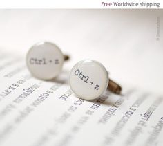 Geek Cufflinks - Keyboard Ctrl-Z - Cuff links for men (C001). $23.00, via Etsy. For the groom with a sense of humour!
