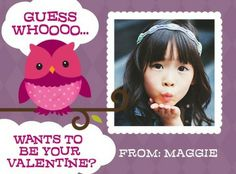 Make your children' Guess Hoot - Valentine's Day Cards for Kids in a Deep Plum Purple