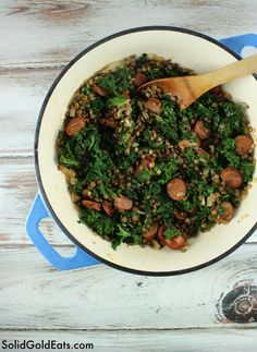 Spicy Chicken Sausage with Lentils and Kale