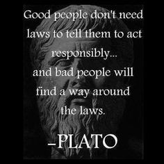 good people do not need laws to tell them to act responsibly and bad people will find a way around the laws