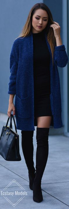 Cozy Blue Cardigan // Fashion Look by Hapatime