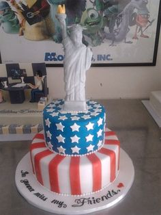 Statue Of Liberty Cake July Fourth Of July Cakes, Fourth Of July Food, July 4th, New York Kuchen, New York Cake, Cupcake Cakes, Fondant Cakes, Military Cake, Artist Cake