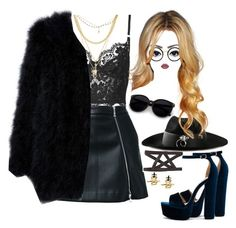 """""""#black"""" by princeps-1 ❤ liked on Polyvore featuring Guild Prime, Topshop, Ettika, UNIF, Steve Madden and Linda Farrow"""