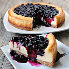 Delicious and creamy blueberry cheesecake with a luscious sweet-tangy sauce that brings this dessert over the top. Fresh or frozen blueberries can be used so it's an all-season dessert.