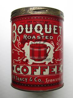 Bouquet Coffee, circa 1920, my collection, beautiful old tin