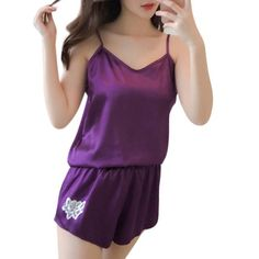 f5e6f4e770 Womens Sexy Faux Silk Sleeveless Camis Pajamas Set Flower Embroidery  Sleepwear