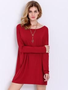 Casual Red Vacation Shift Long Sleeve Dress