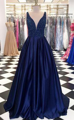 2018 prom dress, long prom dress, navy blue prom dress, formal evening dress, elegant prom dress Navy Blue Prom Dresses, V Neck Prom Dresses, Elegant Prom Dresses, Beaded Prom Dress, Ball Gowns Prom, Formal Evening Dresses, Party Gowns, Formal Gowns, Dance Dresses