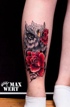 Owl roses tattoo