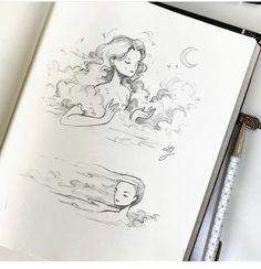Clouds, always clouds. Pencil Art Drawings, Art Drawings Sketches, Easy Drawings, Pretty Art, Cute Art, Arte Sketchbook, Cartoon Art Styles, Pen Art, Aesthetic Art