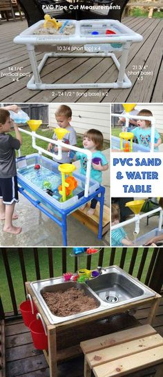 Make a sand and water table from pvc pipe for kids or repurpose sink turned kid's play station. Childrens Play Area Garden, Kids Outdoor Play, Outdoor Play Areas, Kids Play Area, Kids Play Table, Kids Backyard Playground, Backyard Trampoline, Backyard For Kids, Diy For Kids