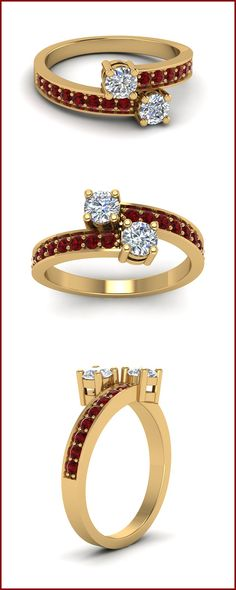 2 Stone Ruby Engagement Rings