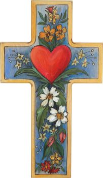 ceramic cross with sacred heart Painted Wooden Crosses, Wooden Art, Cow Painting, Stone Painting, Creative Crafts, Diy And Crafts, Jesus On The Cross, Holy Cross, Vintage Flash