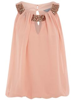 Pale pink, chiffon and sparkles.