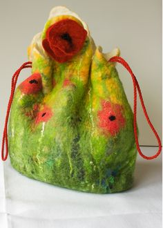 Nuno felted Poppy bag