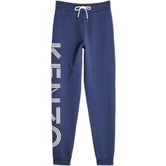 Kenzo Cotton Sweatpants (€264) ❤ liked on Polyvore featuring activewear, activewear pants, blue, cotton sweat pants, blue sweat pants, tapered sweat pants, blue sweatpants and cotton activewear