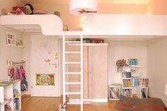 Hochbett Spieltetage weiß Tischler Schreiner selbst gebaut selber bauen Leiter