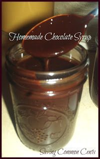 Homemade Chocolate Syrup (no corn syrup)!  Kristin:  We don't buy the store chocolate syrup anymore.  This recipe made almost 2 8 oz. mason jars worth.  My kids love it for chocolate milk!