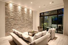 Style High-Tech am Beispiel eines Privathauses in Japan Stone Wall Living Room, Living Room Decor, Modern House Plans, Modern House Design, Living Room Designs, Living Spaces, House Wall, Luxury Furniture, Room Inspiration