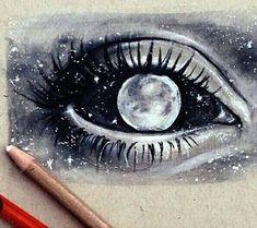 art black and white draw drawing drawings draws eye galaxy gray moon planets stars universe First Set on Moon Drawing, Painting & Drawing, Drawing Tips, Drawing Ideas, Drawing Pictures, Moon Painting, Drawing Tutorials, Painting Tips, Drawing Reference