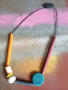 Hand-sculpted and painted polymer clay beaded necklace made by Jayne Flanagan