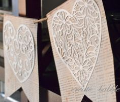 Paper Valentine Banner-Book pages & scrapbook paper