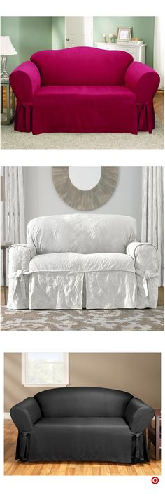 Shop Target for loveseat slipcover you will love at great low prices. Free shipping on all orders or free same-day pick-up in store. Custom Slipcovers, Loveseat Slipcovers, Diy Sofa, Couch Covers, Paint Colors For Home, Decoration, Love Seat, Bed Pillows, Upholstery