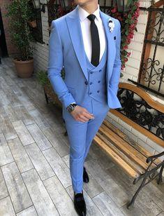 Blazer Outfits Men, Mens Fashion Blazer, Suit Fashion, Mens Blazer Styles, Blue Blazer Outfit Men, Blue Slim Fit Suit, Blue Suit Men, Mens Slim Fit Suits, Mens Suits Style