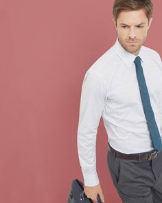 Discover the latest men's designer clothing at Ted Baker. Shop men's British fashion from luxury bags, shirts, tops, trousers and more. Blue Shirts, Office Prints, Designer Clothes For Men, Luxury Bags, British Style, Ted Baker, Trousers, Man Shop, Shirt Dress