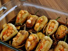 Shrimp-Stuffed Chiles recipe from Marcela Valladolid via Food Network Mexican Cooking, Mexican Food Recipes, Mexican Made Easy, I Love Food, Good Food, Yummy Food, Food Network Recipes, Cooking Recipes, Easy Recipes