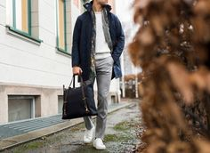 Jacket: ARC'TERYX VEILANCE Trousers: INCOTEX Sweater: POLO RALPH LAUREN Scarf: DRAKE'S Sneakers: SWEYD