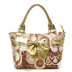 Coach Poppy Bowknot Signature Medium Yellow Totes AVO Give You The Best feeling!