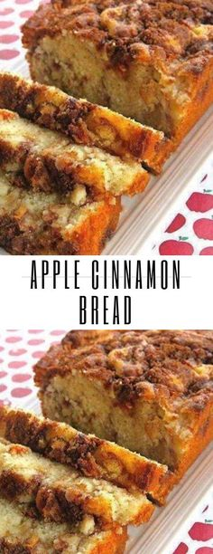 This recipe seriously makes The BEST Cinnamon Apple Bread! It tastes like apple crisp in bread form! Its moist flavorful and has a crunchy cinnamon topping. This Cinnamon Apple Bread is made with applesauce which Apple Desserts, Köstliche Desserts, Apple Recipes, Baking Recipes, Delicious Desserts, Cake Recipes, Dessert Recipes, Yummy Food, Cinnamon Desserts