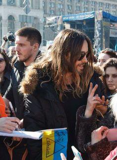 Jared Leto at Euromaidan camp on Independence Square, Kiev, Ukranie.- 13-03-2014