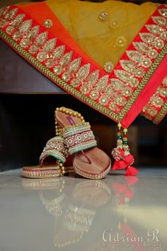 Ethnic red and green footwear ideas for an indian bride!