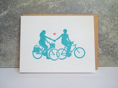 Handmade Cavalcade Vendor preview! www.handmadecaval... www.facebook.com/... This Weekend Dec 1st/2nd in NYC!  Bike Love Pair Letterpress Notecard by pepperpressny on Etsy, $5.50