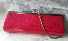 Pink metallic Clutch, Pretty in Pink bag, Metallic Clutch Beautiful Handbags, Pretty In Pink, Rebecca Minkoff, Coin Purse, Metallic, Wallet, Chain, Silver, Fashion