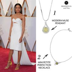 Naomie Harris topped our Oscar best-dressed list! Which Magnolia and Vine look would you add to her style? 1) Modern Muse Pendant and chain..or 2) Mini Petite Perfection Necklace. www.SparkleSnaps.com