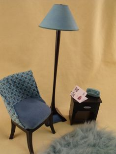 1/6 scale Barbie living room or bedroom furniture... chair, table lamp, rug, phone, magazine... custom dollhouse creation by CHANIKAVA