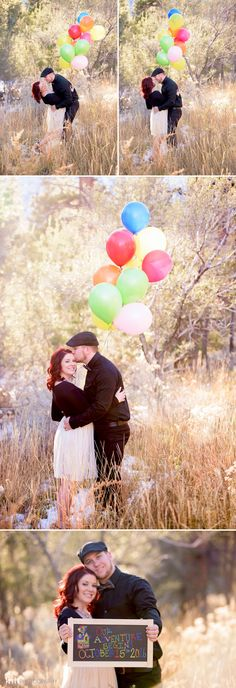 Fall Mountain Engagement Session with Colorful Balloon & Chalkboard Sign | KMH Photography | Las Vegas Photographer