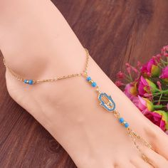 BID STARTS AT 1.99  NOW!! hamsa hand barefoot sandal gold and turquoise for those special moms #Bohemiangypsytrails