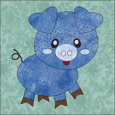 Sewing Block Quilts Name: 'Quilting : Pig Applique Quilt Block Pattern - Quilt Baby, Baby Quilt Patterns, Boy Quilts, Applique Patterns, Applique Quilts, Sewing Appliques, Scrappy Quilts, Farm Animal Quilt, Farm Quilt