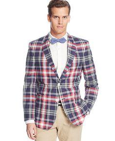 13cff642d34 Tommy Hilfiger Trim-Fit Madras Plaid Sport Coat Men - Blazers   Sport Coats  - Macy s